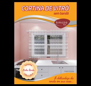 Cortina de Vitro em Renda p/ Cozinha sem Bando 1,50x1,25m Cx.12 Image
